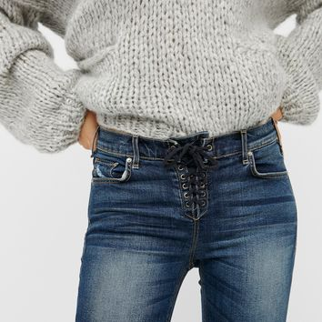 Free People Shoreline Slim Lace-Up Skinnies