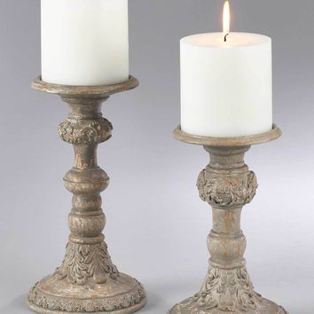 Antique Wood Pillar Candle Holders