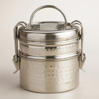 Hammered Metal Tiffin  Lunch Box - World Market