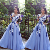 2016 Dubai Evening Gowns Floor Length V Neck Lace Appliques Long Transparent Sleeve A Line Tulle Blue Prom Dresses Arabic