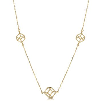 14k Yellow Gold 3D Cube Pendant Adjustable Necklace, 18""