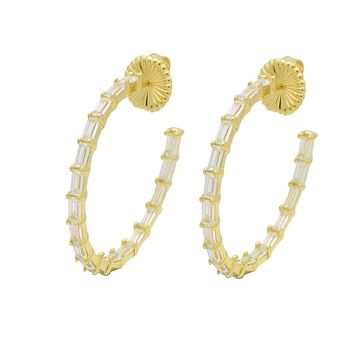 Fronay Co .925 Sterling Silver Baguette Cz Hoop Earrings plated in Gold (35mm)