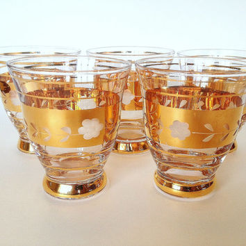 Gold Whiskey or Cocktail Glasses, Hand Blown, Engraved Vintage Barware