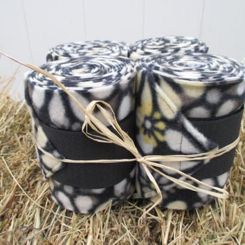 Set of 4 Polo Wraps for Horses- Black, Yellow, White Floral Print Fleece