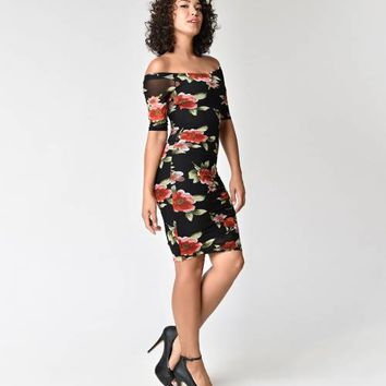 Retro Style Black & Rose Floral Off Shoulder Wiggle Dress