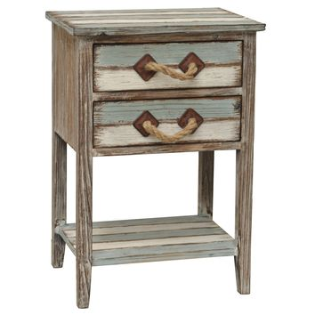 Nantucket 2 Drawer Weathered Wood Accent Table By Crestview Collection Cvfzr693