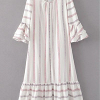 White Striped Flared Sleeve Ruffle Long Dress