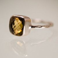 CLEARANCE - Gemstone Ring - Bear Quartz Ring - Citrine Ring - Sterling Silver - Bezel Set Ring - Stackable Ring -