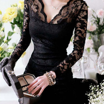 Clearance 2017 New Fashion V-neck Long Sleeve Lace Bodycon Dress Sexy Little Black Dress Clubwear White Above Knee Dress