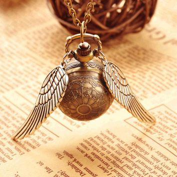 New Fashion Vintage Bronze Punk Steampunk Quartz Pocket Watch cartoon Pendant Chain Necklace Clock