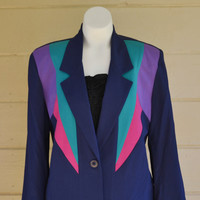 Vintage 1980s Color Blocking Suit Jacket Womens Navy Blue Suit Coat Neon Color Blocking Size 6
