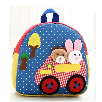 Toddler Backpack class New Cute Kids School Bags Cartoon Animal Applique Canvas Backpack Mini Baby Toddler Book Bag Kindergarten Rucksacks BP102 AT_50_3