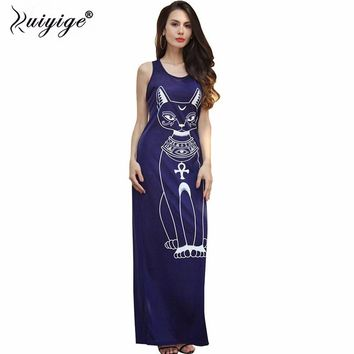 Ruiyige 2018 Long Summer Dresses Fashion Women Casual Black Sleeveless Round Neck Plus Size Cat Print Slim Floor-Length Dress