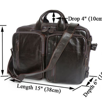 Vintage Leather Men's Briefcase Backpack Laptop Bag