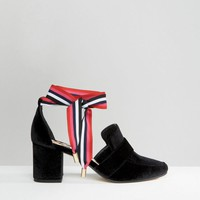 WAH LONDON x ASOS Ribbon Lace Up Velvet Heeled Loafers at asos.com
