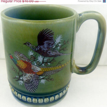 To Live Above With The Saints We Love:Wade Irish Porcelain Pheasant Mug