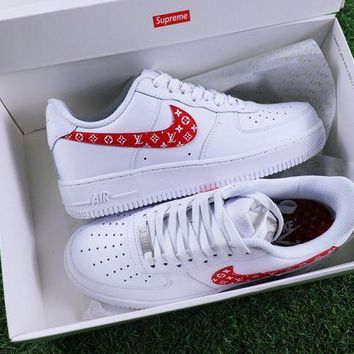 VON3TL Sale Supreme x LV x Nike Air Force 1 White Red Sport Shoes Sneaker