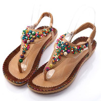 Big Size 36-40 Brand New Bohemian Summer Women's Sandals Solid String Bead Elegant Elastic band Sweets Fashion Flats SH0209