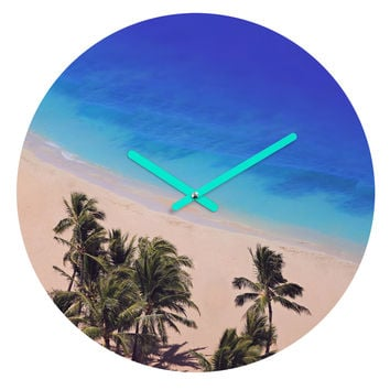 Leah Flores Hawaii Beach Round Clock