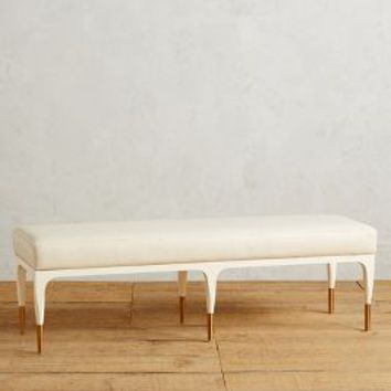Tracey Boyd Heathcote Brass-Tipped Bench in White Size: One Size Furniture