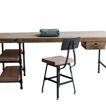 Modern Wood Desk. reclaimed wood with steel legs in your choice of style and size.