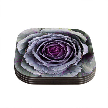 "Susan Sanders ""Flower Love"" Purple Green Coasters (Set of 4)"