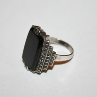 Vintage Art Deco Sterling Onyx Ring Marcasite 1920s  Jewelry