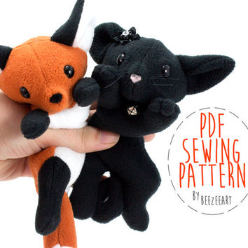 Fox and Cat Stuffed Animal Sewing Pattern, Plush Toy Pattern, PDF