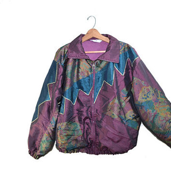 Vintage Bomber Jacket Purple Bomber Jacket Aztec Print Bomber Jacket 90s Windbreaker Jacket Purple Jacket