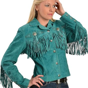 Scully Women's Fringe and Beaded Boar Suede Leather Jacket - L152-86