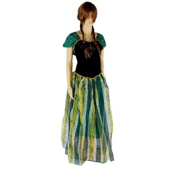 Free Shipping Adults Women Princess Queen Anna/Elsa Costume Cosplay Party Fancy Dress