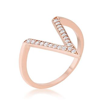 Michelle Rose Gold Delicate V-Shape  Fashion Cocktail Ring | 0.5ct | Cubic Zirconia | Rose Gold