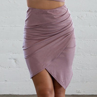 Dusty Rose Suede Skirt
