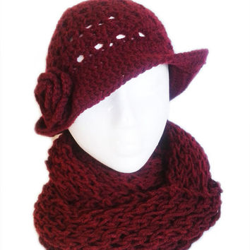 Hat and Scarf set - Bordeaux crochet hat and kinitting Infinity scarf