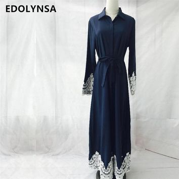 Muslim 2017 Brand Fashion Dress Abaya Vintage Kaftan Dress Maxi Dresses Soft Long Dresses Casual Plus Size Robe Knitting #D220