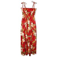 makaha red hawaiian maxi dress
