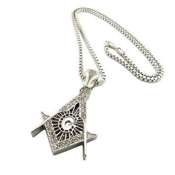 PEAPA8C NEW MINI LITTLE WORLD FREEMASON MASONIC SYMBOL PENDANT 24' BOX CHAIN JSP032M