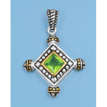 Natural 4CT Princess Cut Green Peridot Asymetrical Pendant Necklace