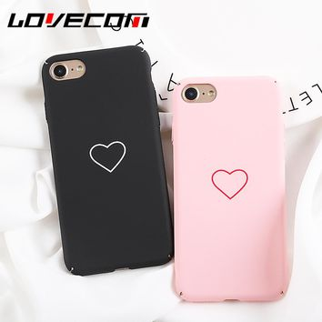 LOVECOM Phone Case For iPhone 6 6S 7 8 Plus Fashion Korean Heart Solid Color Full Body Phone Back Cover Cases New Best Gifts