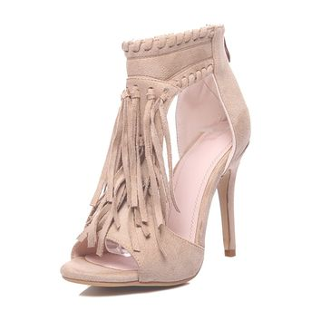 2018 Women's Fringe Sandals Tassel Ankle Strap Heels Open Toe Sandals (2 Colors)