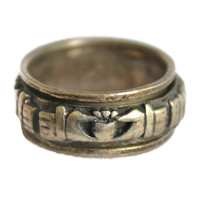 Vintage Irish Cladagh Irish Wedding Ring Spinner Ring Band Ring Men's Ring Woman's Ring Unisex Ring Sterling Silver