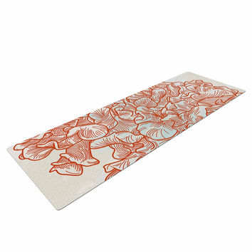 "Sam Posnick ""Lettuce Coral"" Orange Beige Yoga Mat"