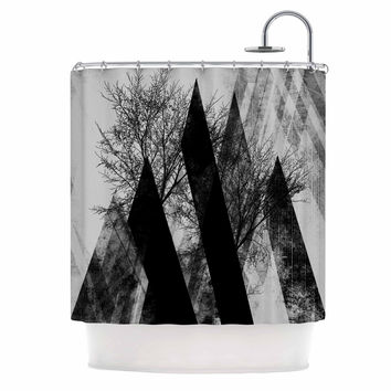 "Pia Schneider ""TREES V2"" Black White Gray Shower Curtain"