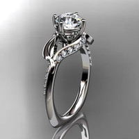 Unique 14kt white gold diamond leaf and vine wedding ring,engagement ring ADLR225