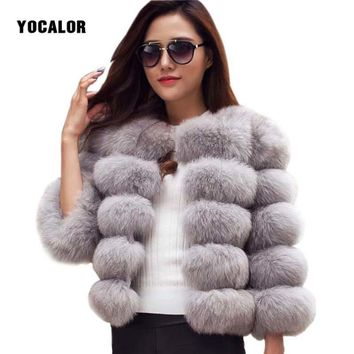 YOCALOR Faux Fur Coat Mink Fur Coats Winter Jacket Women Elegant Thick Warm Outerwear Fake Fur Jacket Women Parka Female Coat