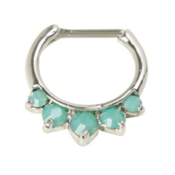 Steel Jade Green Gem Septum Clicker