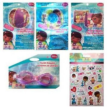 "Disney Doc Mc Stuffins 20"" Beach Bal,Swim Ring,Arm Floats,Goggles,&Stickers-New!"