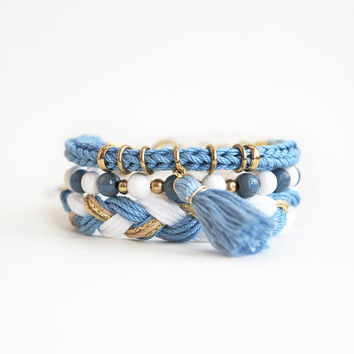 Light blue bracelet stack, hippie stacking bracelets with tassel charm, bohemian set of bracelets, nautical arm candy