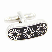 Retro Black Floral Men's Cufflinks With Gift Box