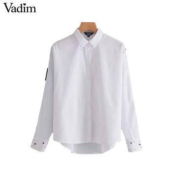 Vadim women cuff pearls beading basic white shirts striped long sleeve turn down collar blouse loose casual tops blusas LT2510